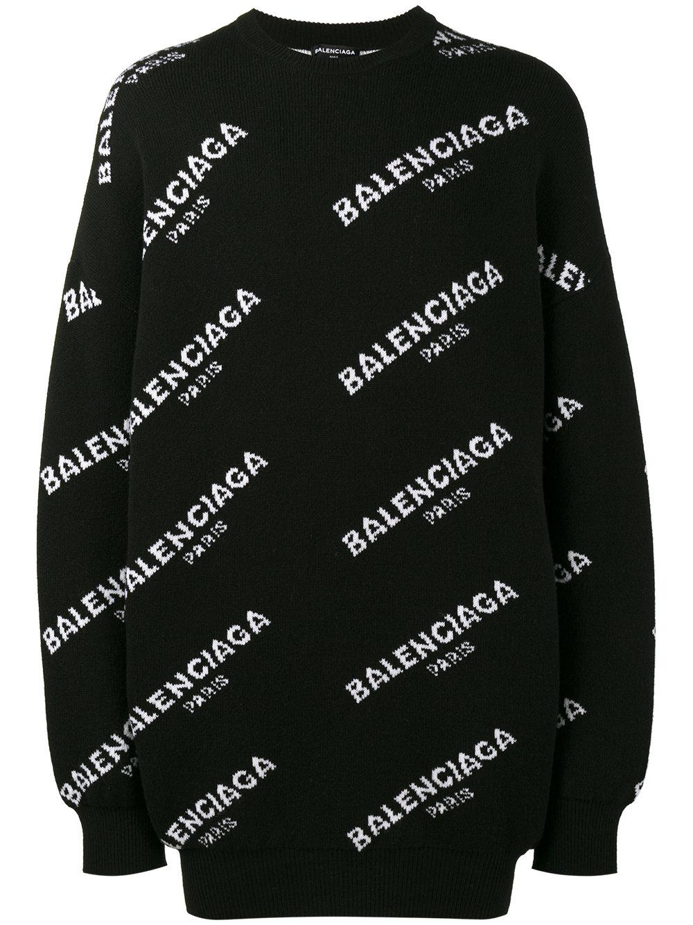 Balenciaga Oversized All Over Logo Sweatshirt In Black For