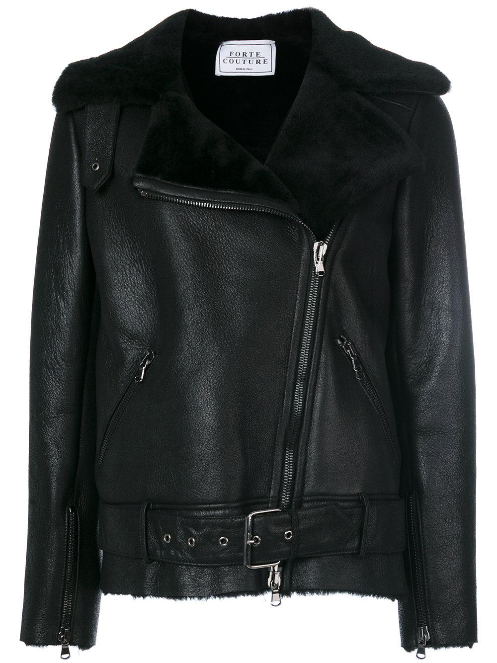 Forte couture Perfect Luxury Leather Jacket in Black