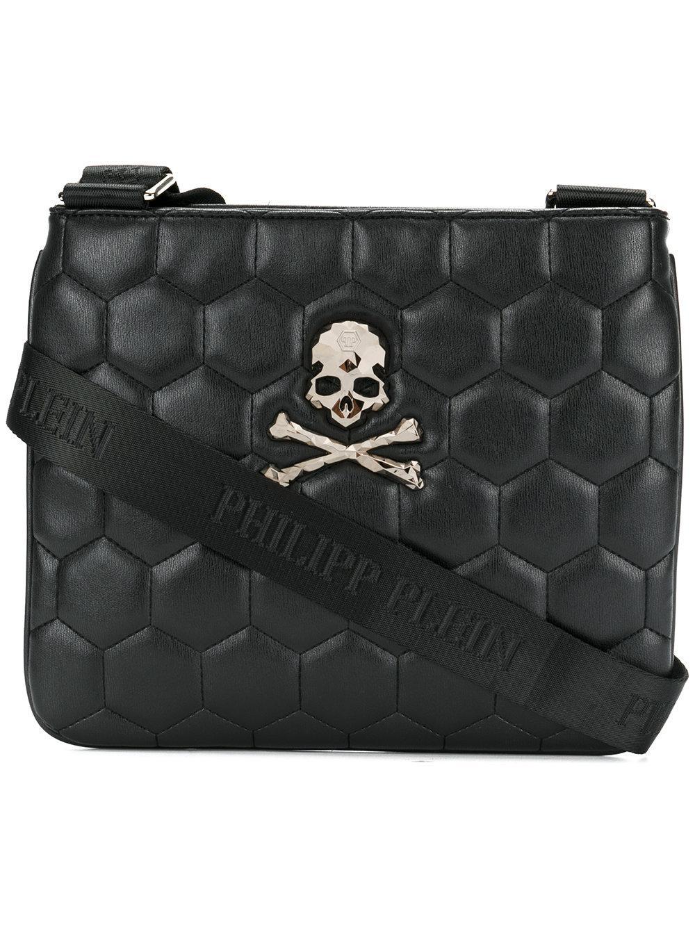 8027360827 Philipp Plein Quilted Skull Shoulder Bag in Black for Men - Lyst