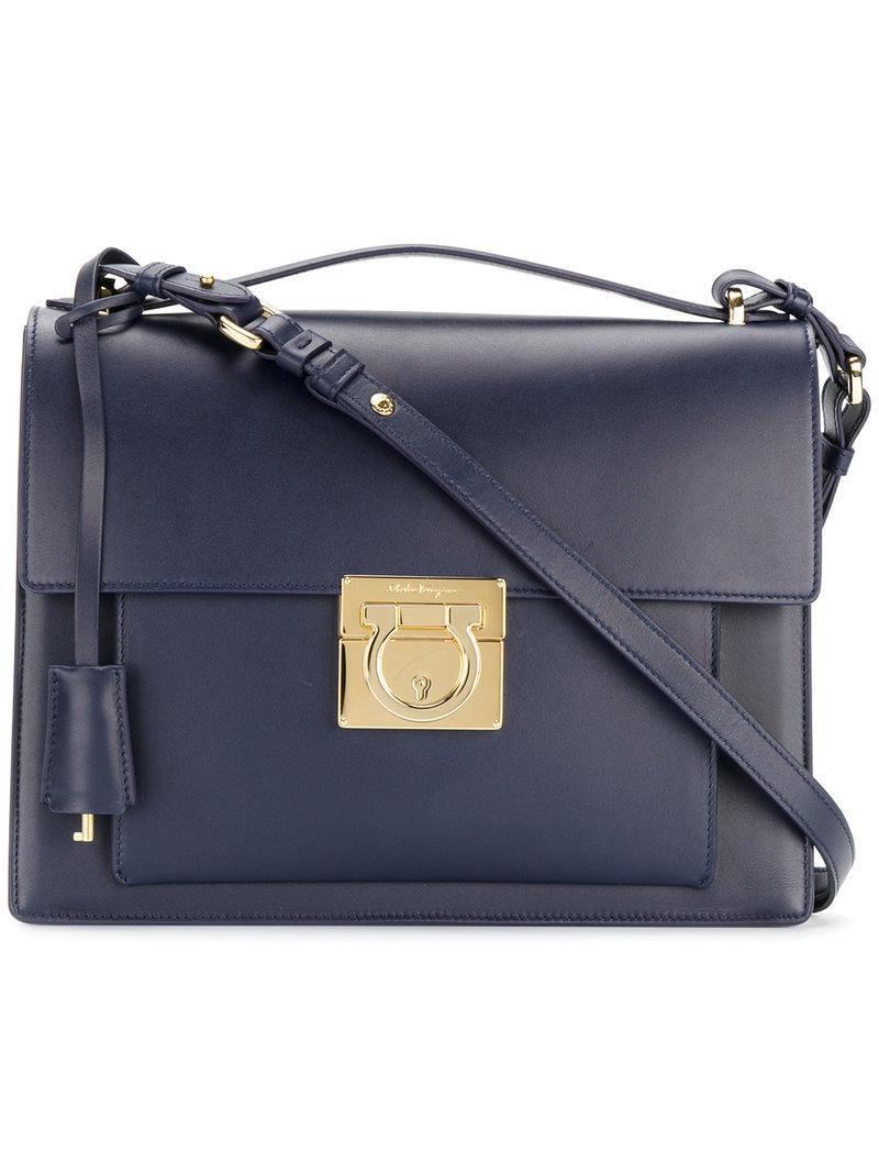Ferragamo Aileen Shoulder Bag in Blue - Lyst 5e4cb2cad75b1