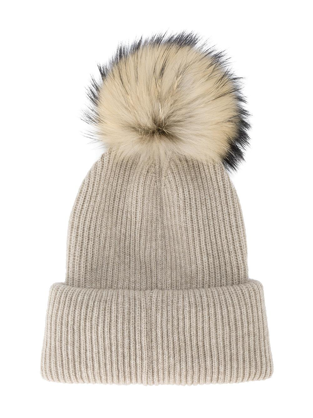 Neutral Ribbed Cashmere Hat with Visor and Fur Pom Pom inverni Ka4YtCrd