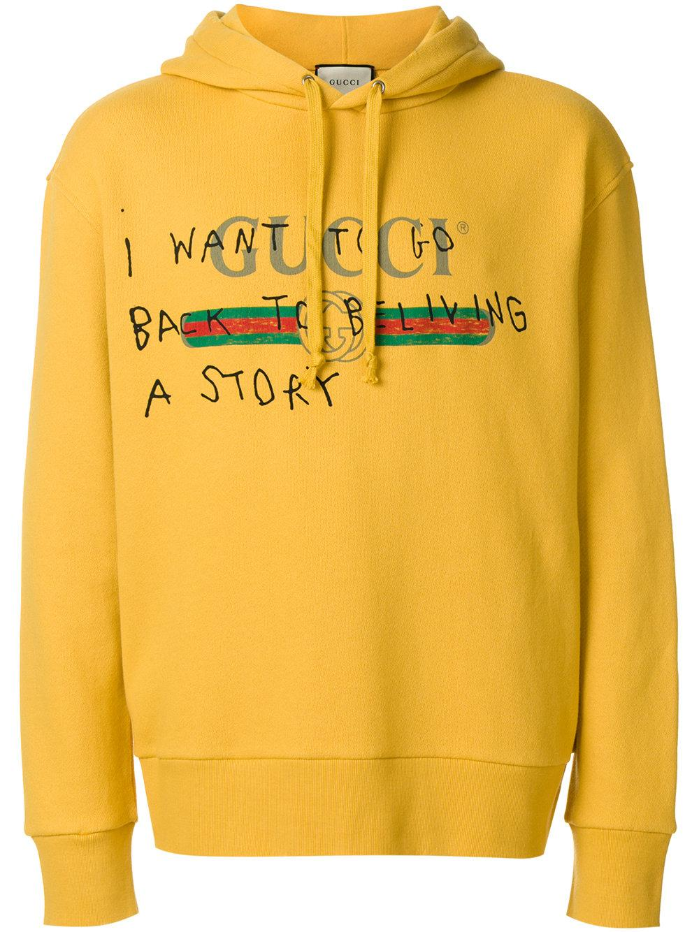 0a3b7a7d953 Lyst - Gucci Coco Capitán Logo Hoodie in Yellow for Men