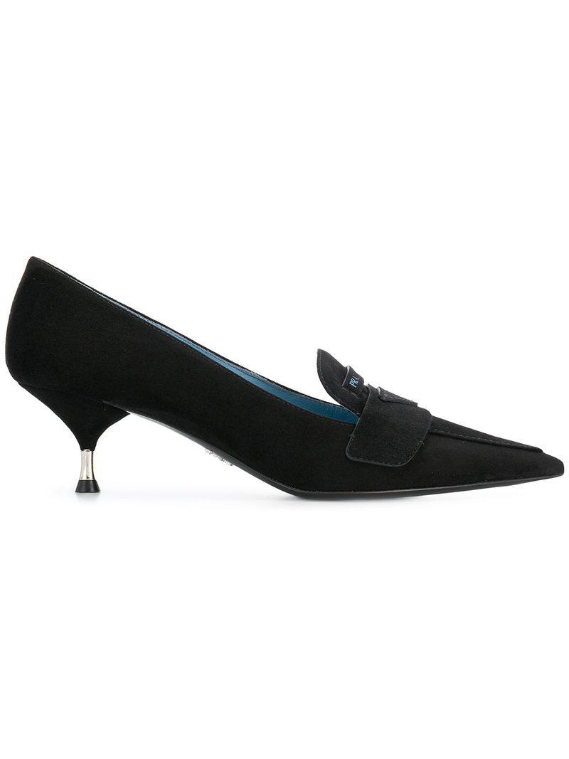 dad1af1f76c Lyst - Prada Kitten Heel Loafers in Black