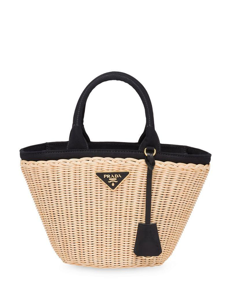02b3a3ab4fb6 Prada - Multicolor Woven Tote Bag - Lyst. View fullscreen