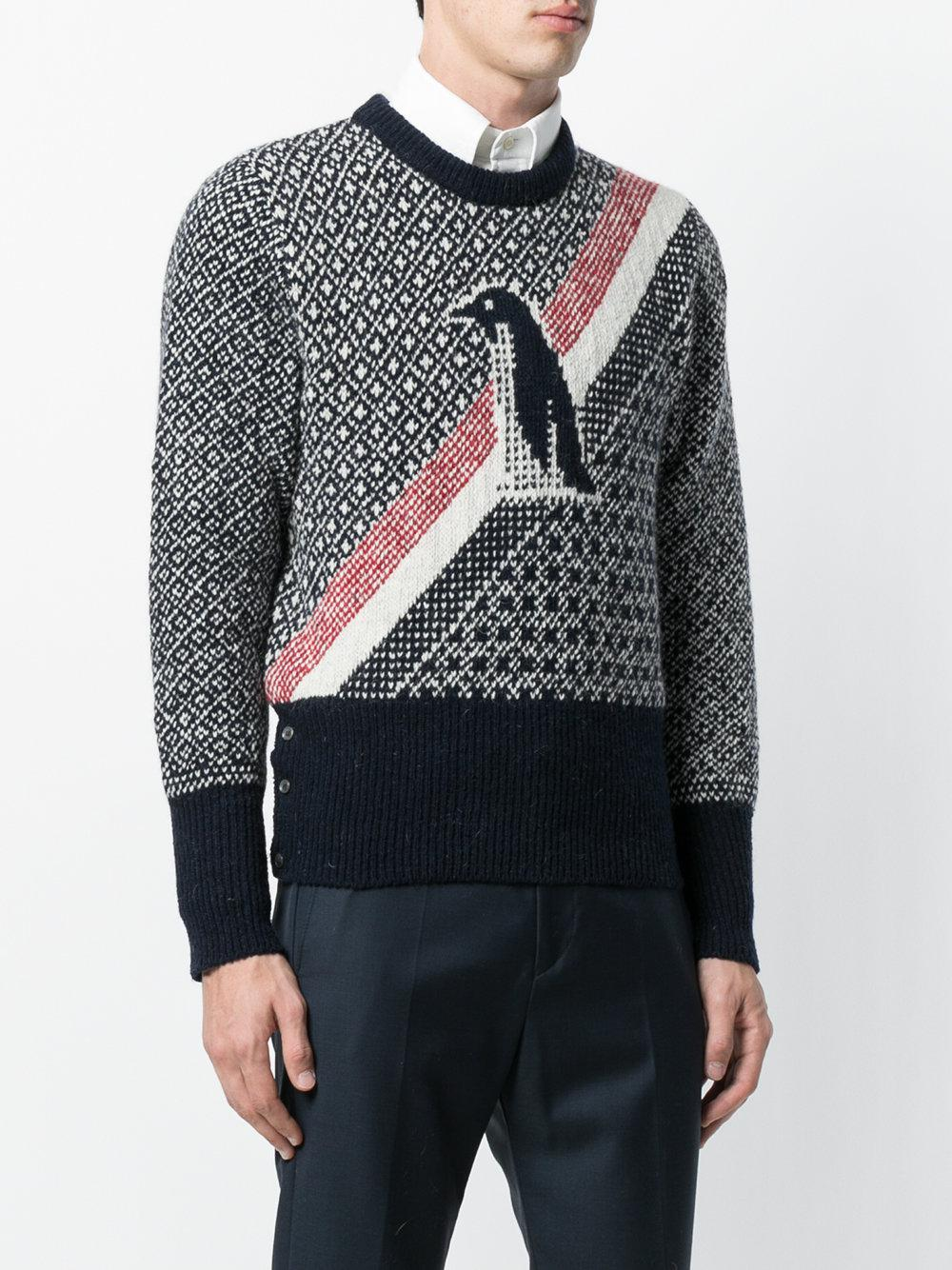 Duck Icon Jacquard Knit Mohair Tweed Crewneck Pullover - Blue Thom Browne Free Shipping In China Countdown Package Online Best Seller Discounts g91ZuK