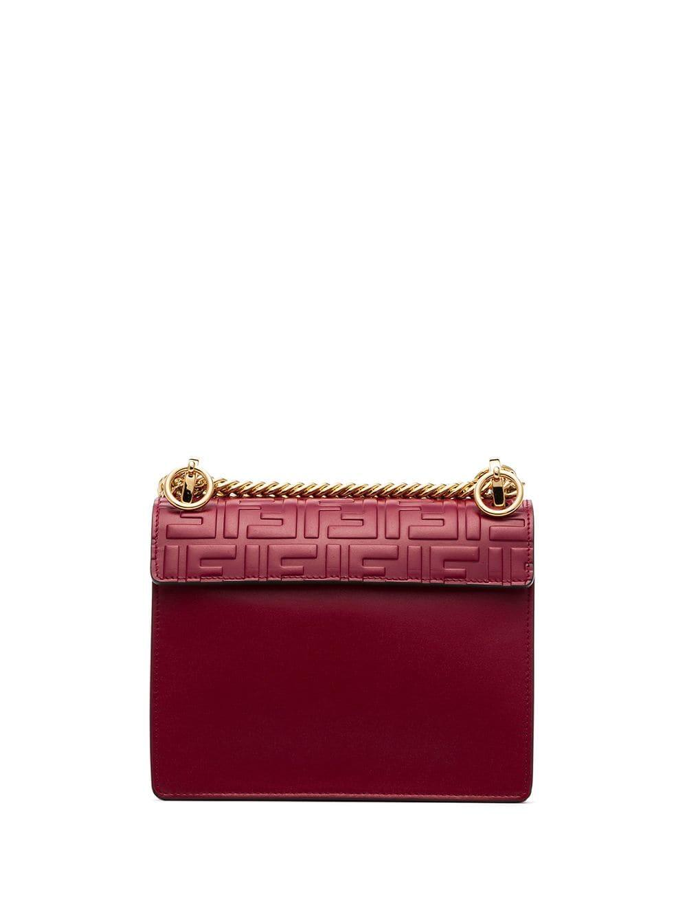d345ba163731 Lyst - Fendi Red Kan I Small Logo-embossed Leather Shoulder Bag in Red