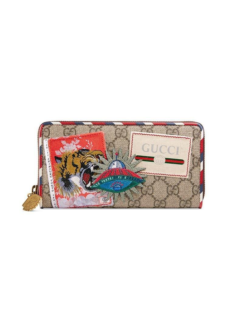 d8f7b879f4df Lyst - Gucci Courrier GG Supreme Zip Around Wallet in Brown for Men