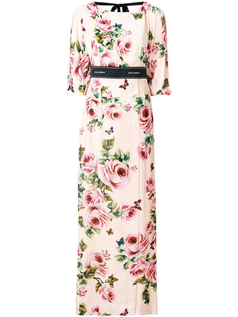 d3acd82a Lyst - Dolce & Gabbana Rose Print Brocade Long Dress in Pink