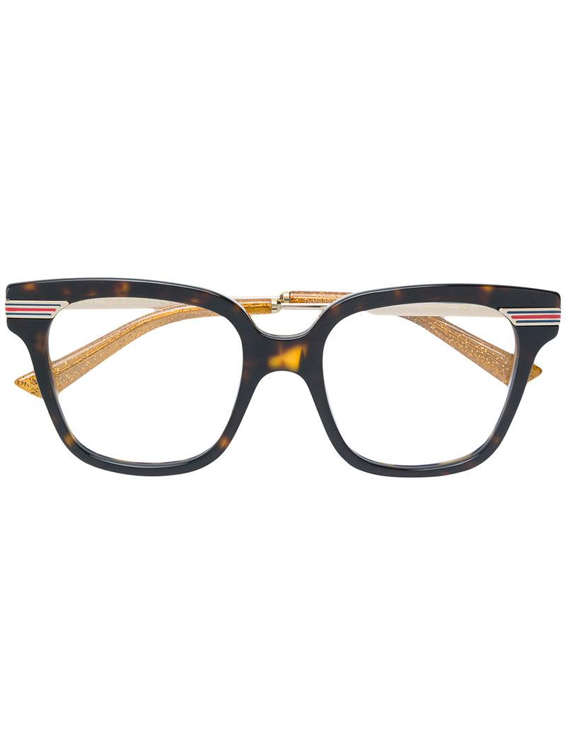 6fe74f190c3 Gucci Tortoiseshell Square Frame Glasses in Brown - Lyst