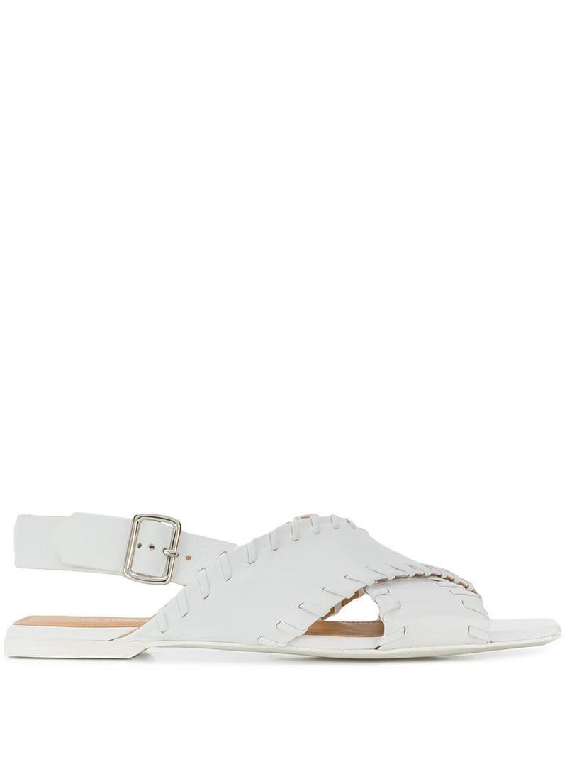 e7c99e17b66 Lyst - Jil Sander Crisscross Strap Sandals in White