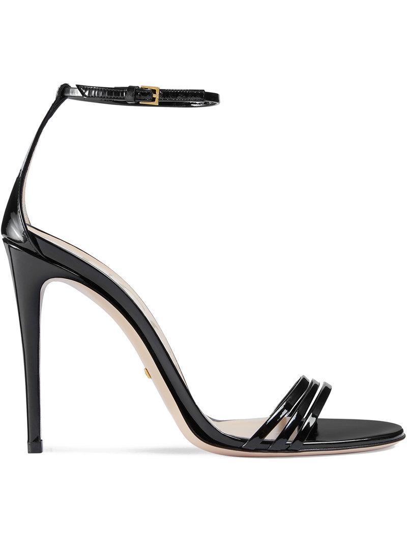 0587558c43f9 Lyst - Gucci Patent Leather Sandals in Black