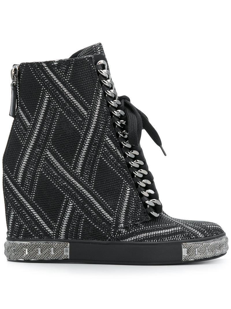 7af02341d28 Casadei Embellished Wedge Sneakers in Black - Lyst