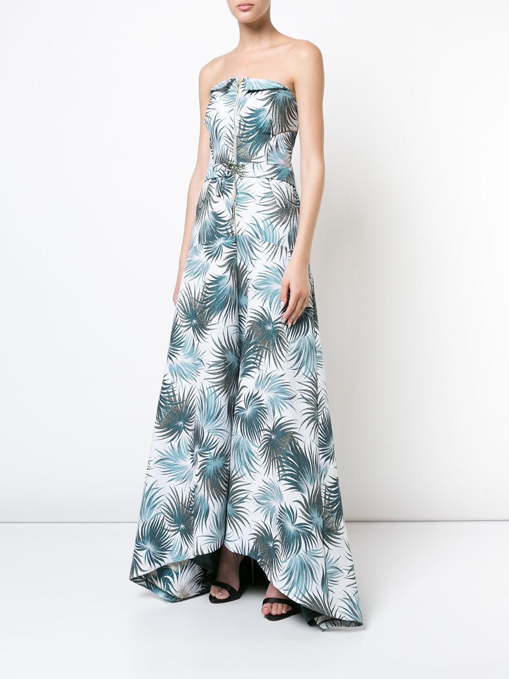 foliage print strapless gown - White Nicole Miller qI3nrU4oik