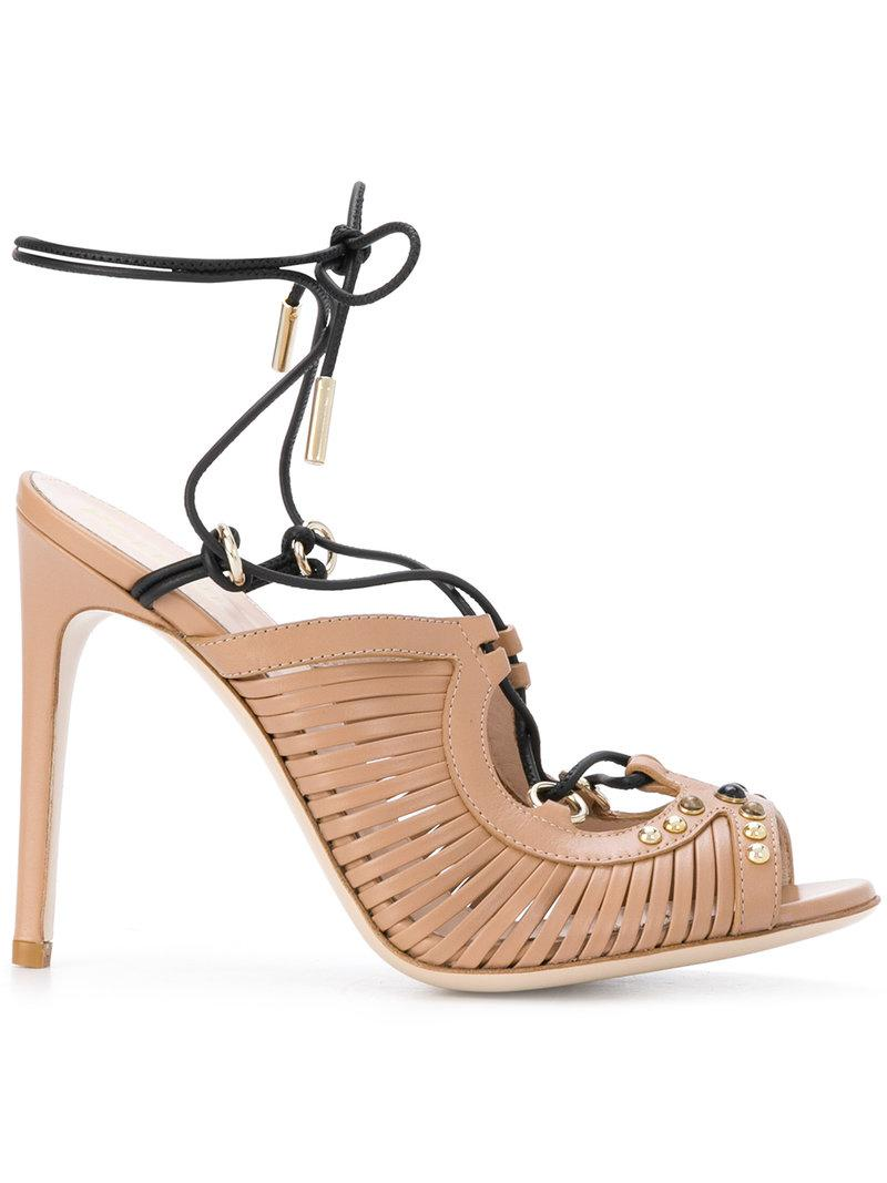 Pollini Leather Caged Sandals clearance many kinds of clearance cheap online f657r9