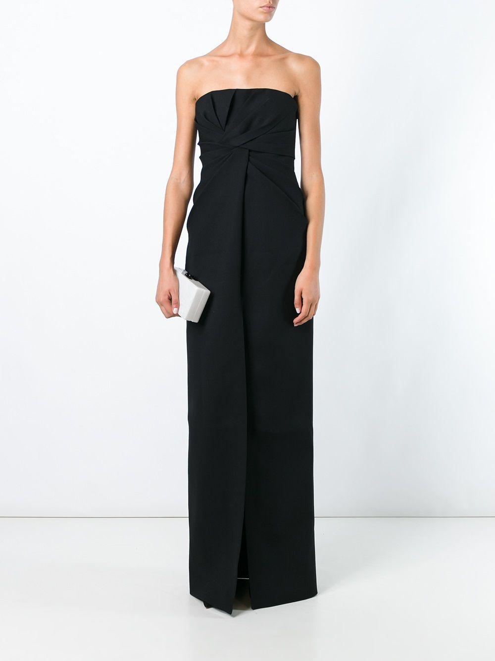 53fd0746977 Saint Laurent Strapless Bustier Long Dress in Black - Lyst