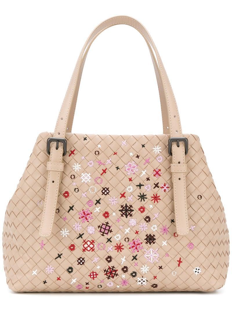 40c47dfe9f65 Bottega Veneta. Women s Mink Intrecciato Meadow Flower Small Cesta Bag