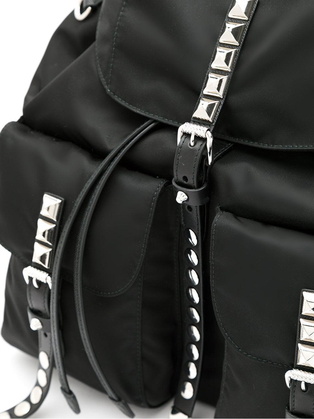 3c94e935d218 ... real prada black stud embellished nylon backpack lyst. view fullscreen  785c0 328ae ...