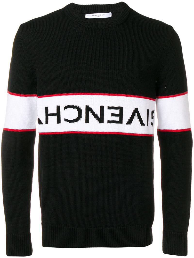 3043c65aab53 Givenchy - Black Upside Down Logo Band Cotton Jumper for Men - Lyst. View  fullscreen