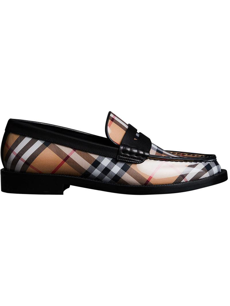 fde6e05c6 Burberry Vintage Check And Leather Penny Loafers in Black - Lyst