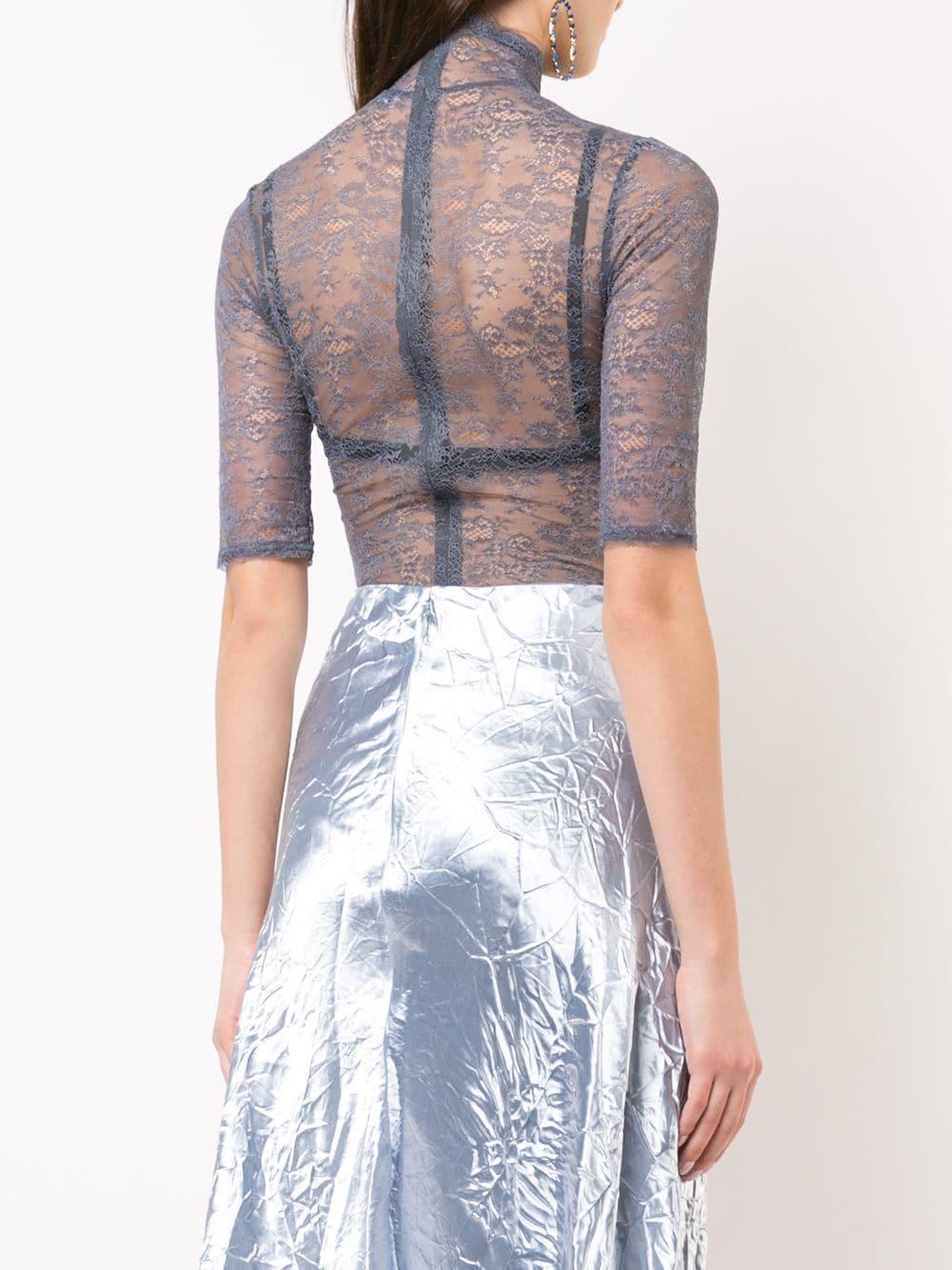 dce4882f47 Nina Ricci - Blue Sheer Embroidered Bodysuit - Lyst. View fullscreen