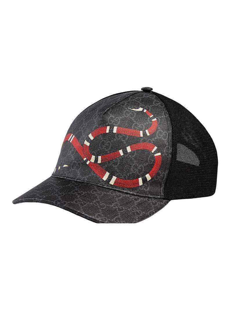 98c16d7ff1a Lyst - Gucci Kingsnake Print GG Supreme Baseball Hat in Black for Men