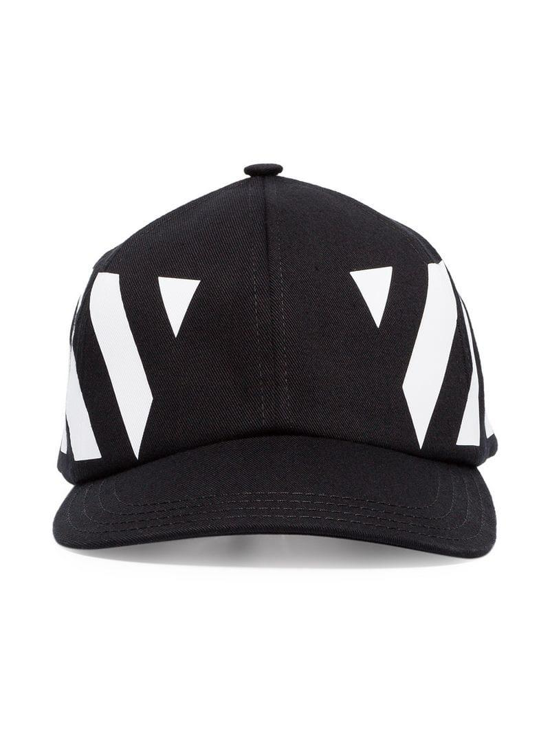 bf72c46b4a5 Lyst - Off-White c o Virgil Abloh Black And White Striped Baseball ...