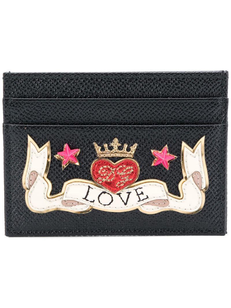 Lyst - Dolce   Gabbana Love Patch Card Case in Black b193a35e22500