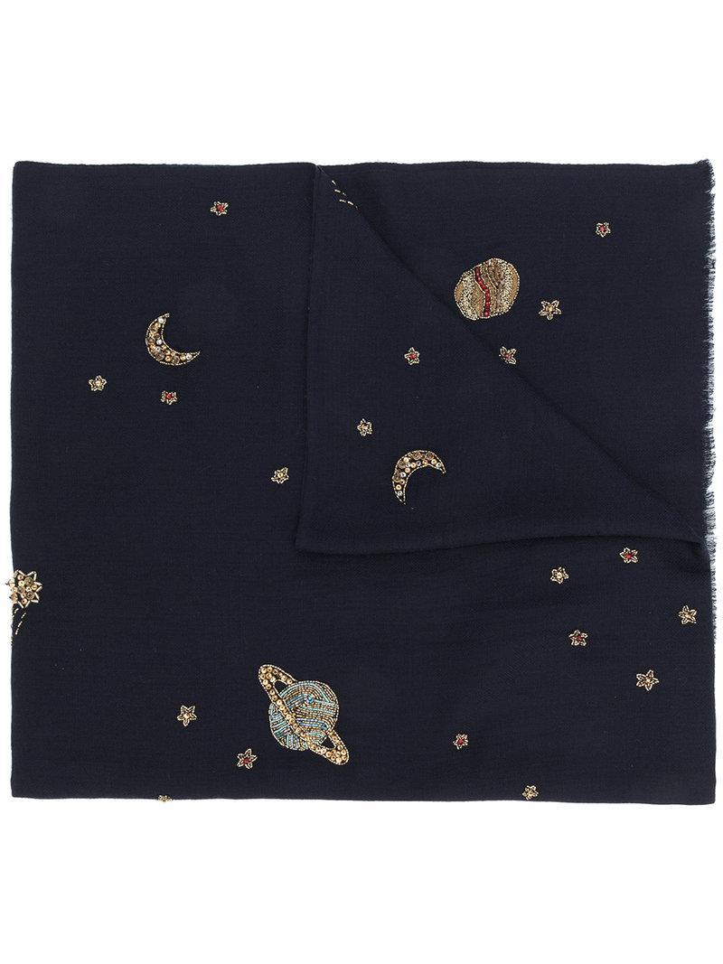 embellished knitted scarf - Blue Janavi Nu7dXO