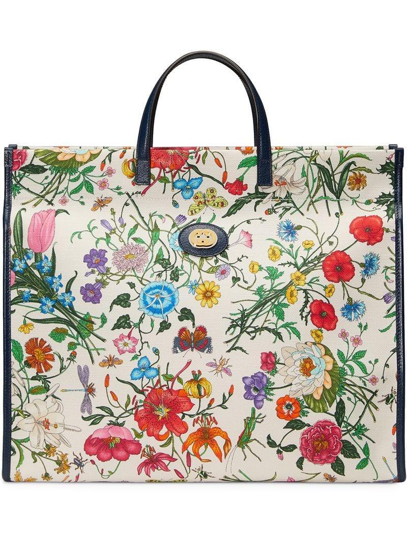 802e26a752d7 Gucci Floral Print Tote in White - Lyst