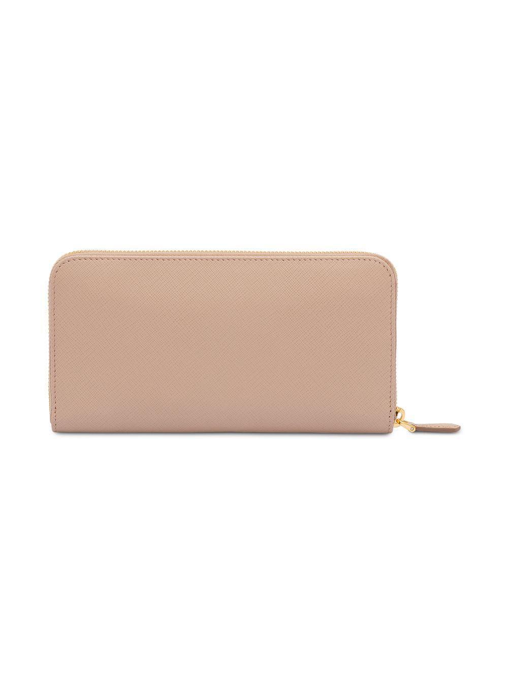 6cc30481e4bd Lyst - Prada Logo Plaque Wallet in Pink