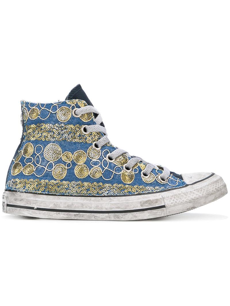 b3f0fce29e8 Lyst - Converse Sequin Embroidered Hi-top Sneakers in Blue