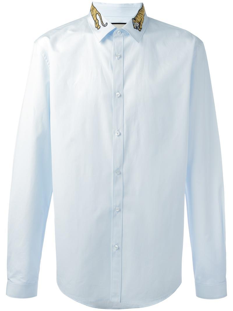 Lyst Gucci Tiger Embroidered Collar Shirt In Blue For Men