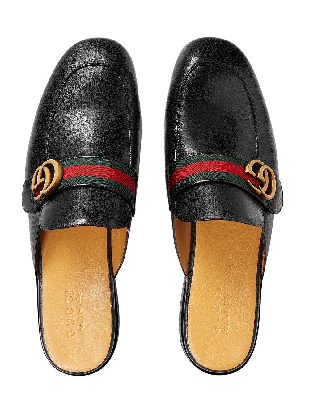 da20cf86abe Gucci - Black Princetown Leather Slipper With Double G for Men - Lyst. View  fullscreen