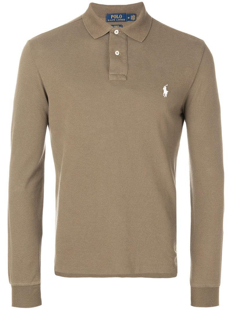 Lyst Polo Ralph Lauren Longsleeved Polo Shirt In Brown