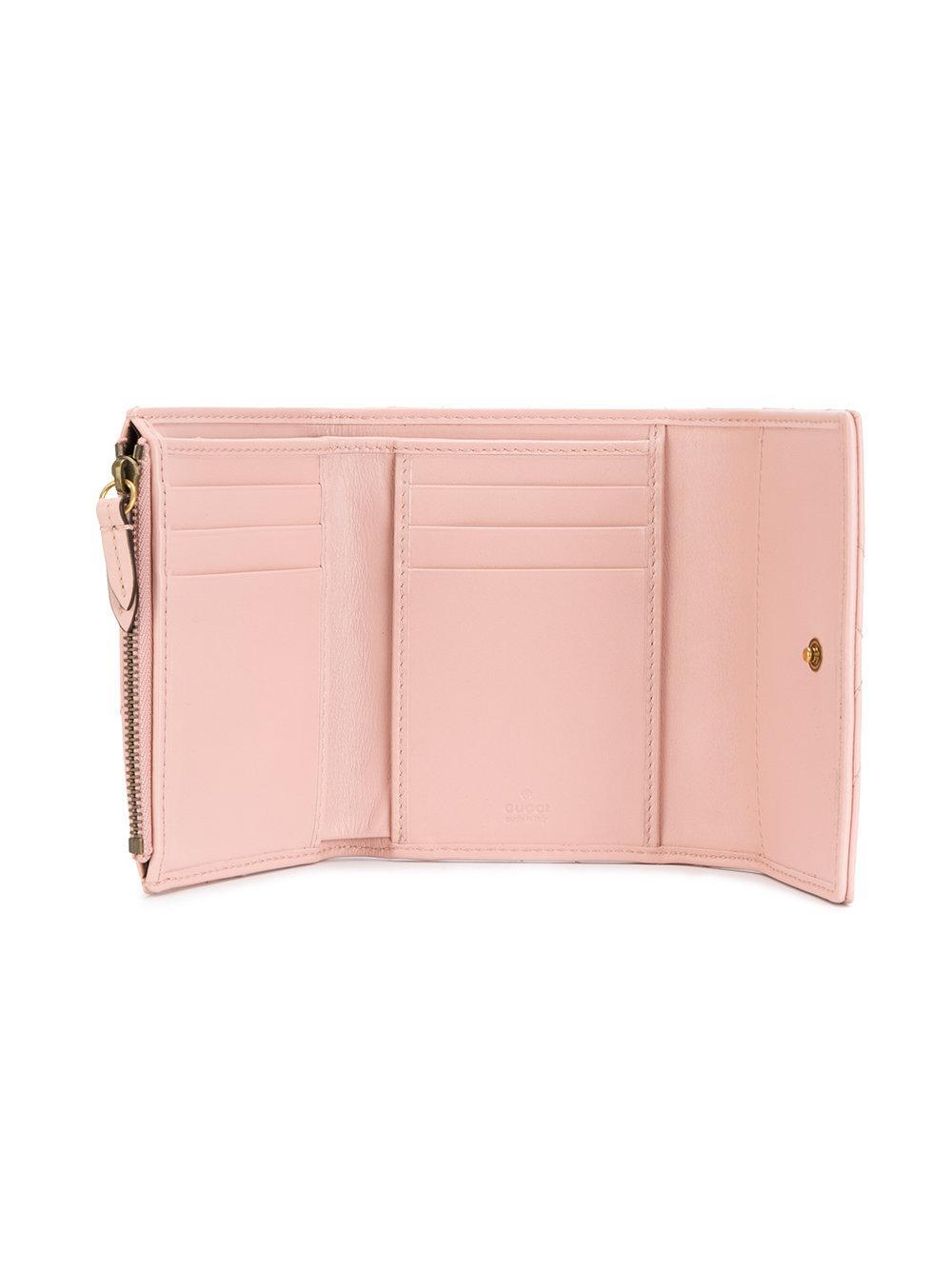 23736d6519b Lyst - Gucci Gg Marmont Matelassé Wallet in Pink