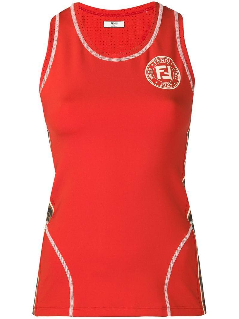 25d08fecb013c Lyst - Fendi Logo Sports Tank Top in Orange