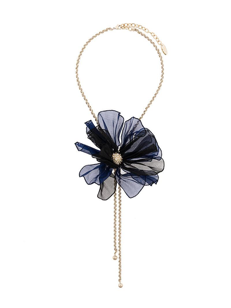beaded flower necklace - Blue Lanvin sJNZH
