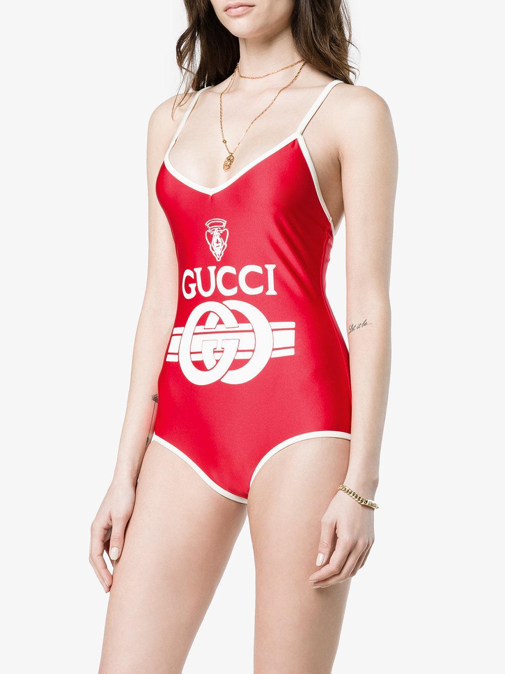 516420049b93 Lyst - Maillot de bain à logo Gucci en coloris Rouge