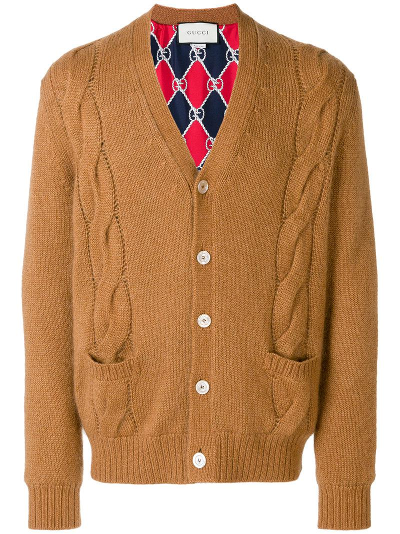 be10bc1f4617 Gucci - Brown Cable-knit Cardigan for Men - Lyst. View fullscreen