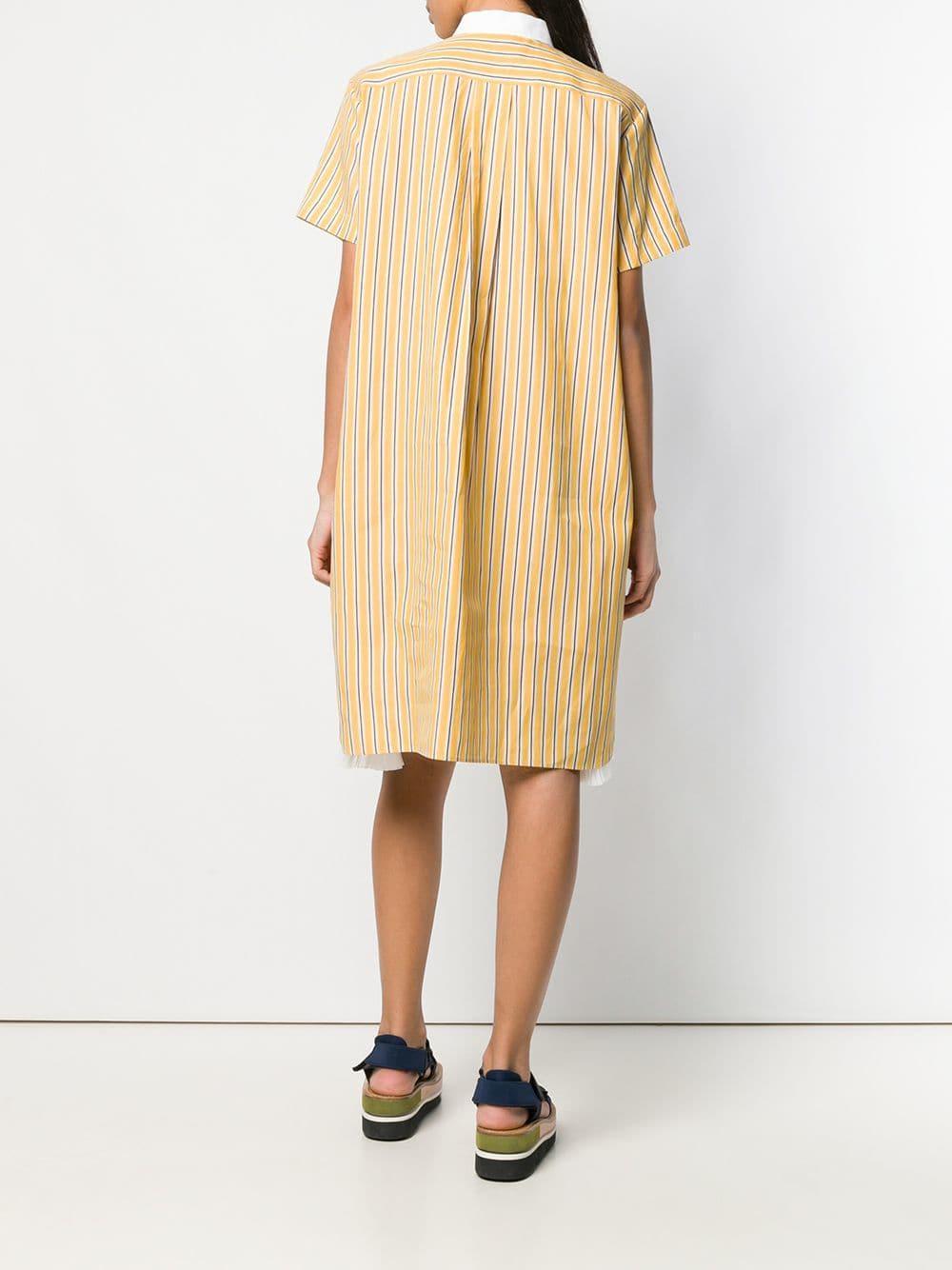 14e77c6803d72 Sacai - Yellow Striped Shirt Dress - Lyst. View fullscreen