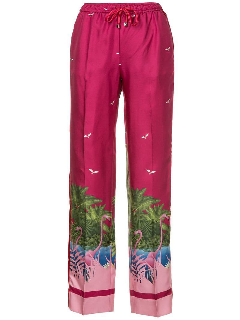 519f69ec1436 F.R.S For Restless Sleepers Flamingo Print Trousers in Purple - Lyst