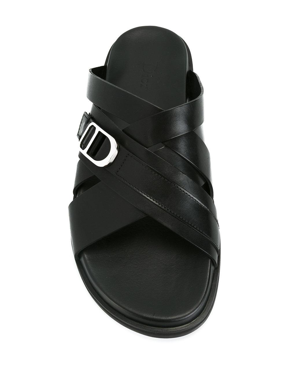 55bcf400978e4a Lyst - Dior Homme Cross Strap Sandals in Black for Men