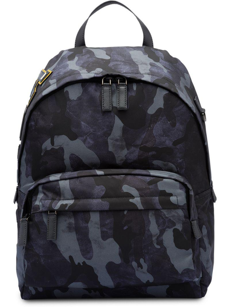 5e8cf03b4390bd Prada Camouflage Print Backpack in Blue for Men - Lyst