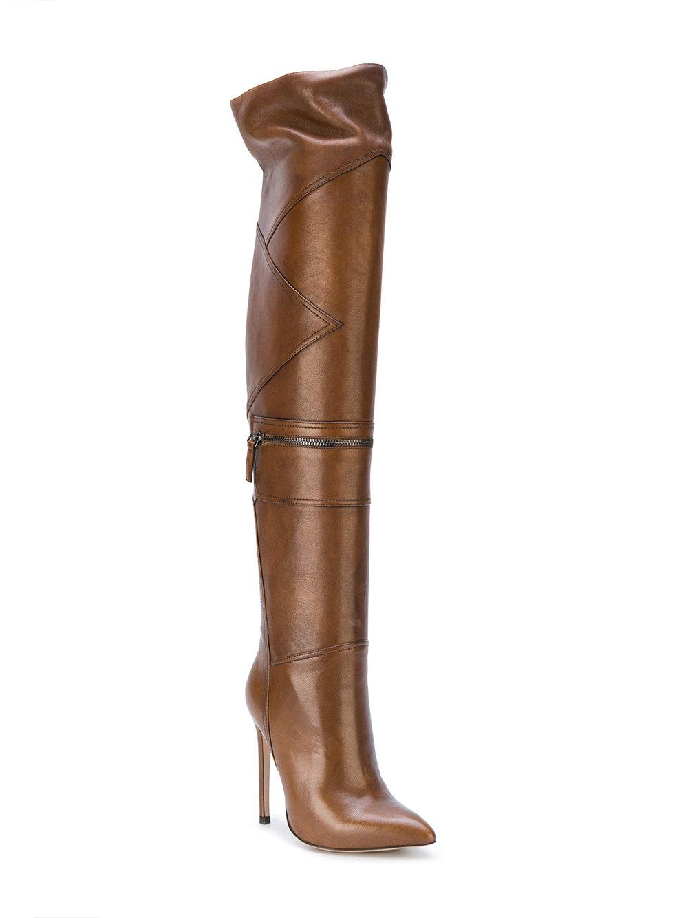 d2916b9cccd Lyst - Gianni Renzi Thigh High Panelled Boots in Brown