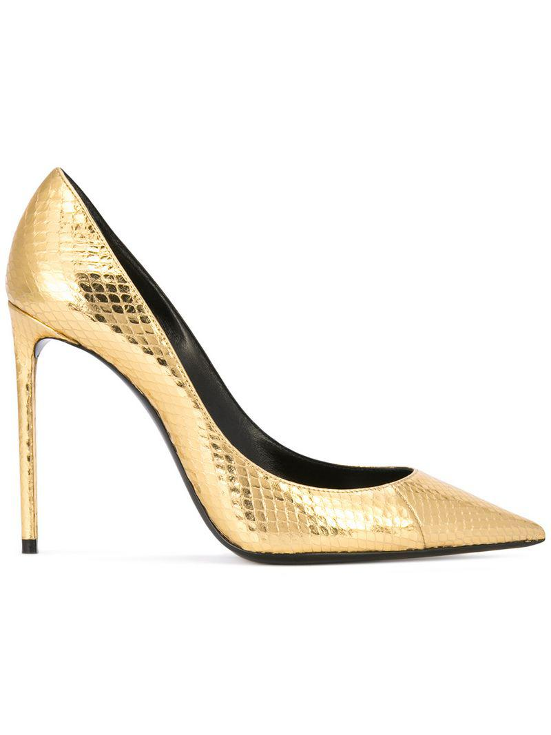 9b3a91dc83c2 Lyst - Saint Laurent Zoe Metallic Snakeskin Pumps in Metallic - Save 50%