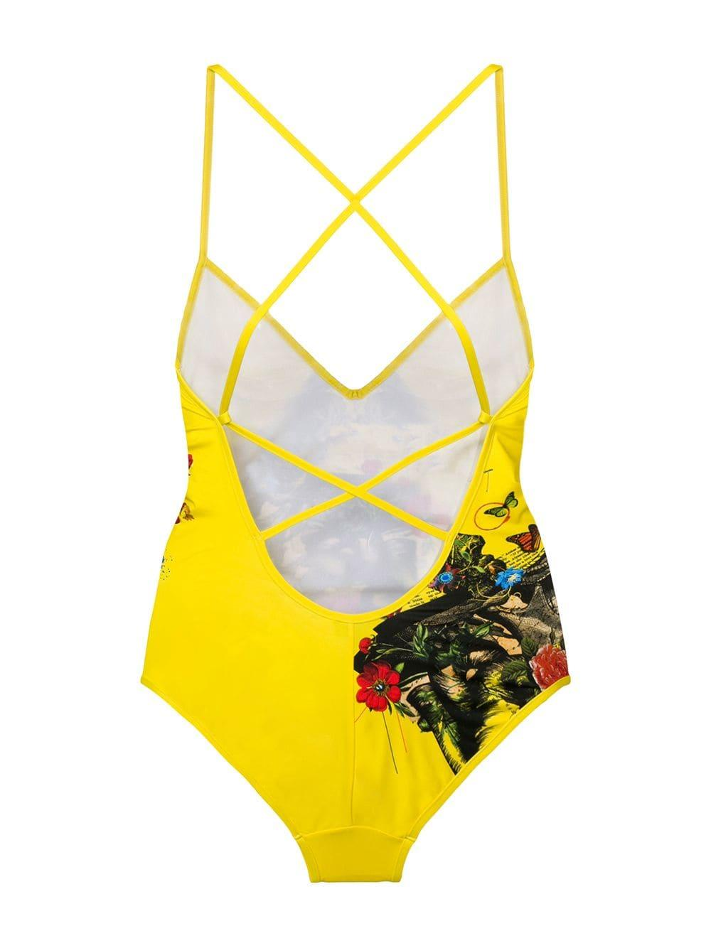 c6d2f53ed9 Lyst - DSquared² Floral Logo Print Swimsuit in Yellow