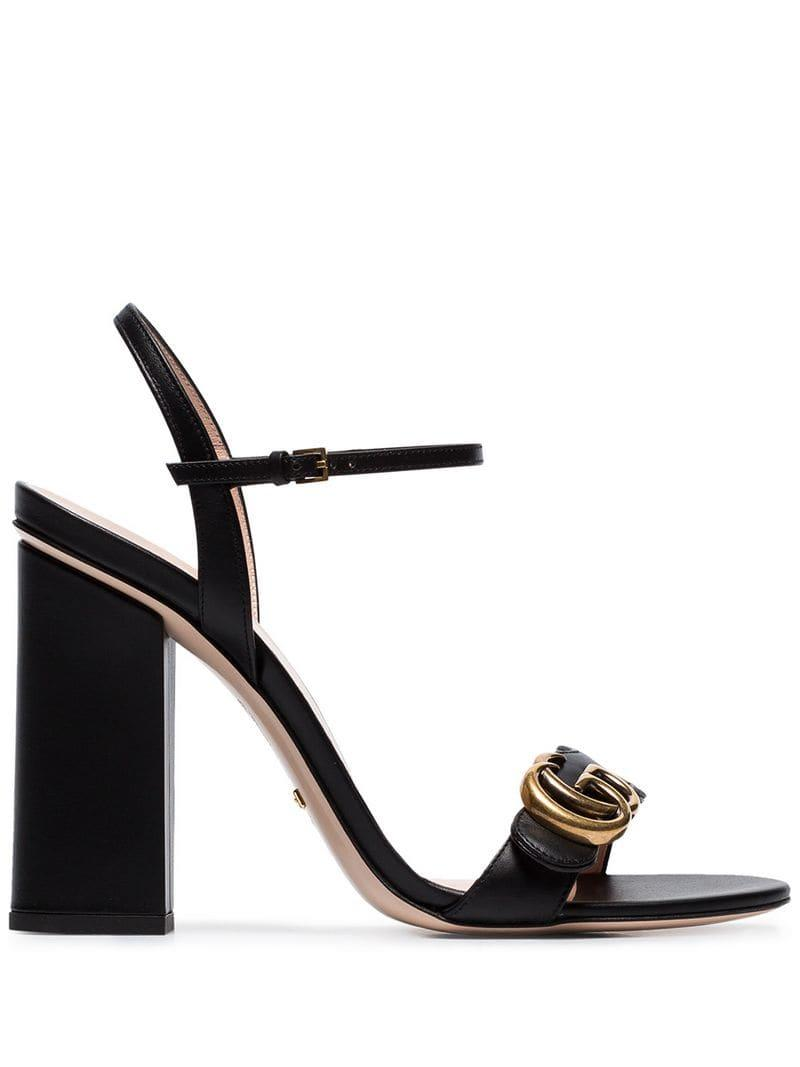 713912417 Gucci Marmont 110 Chunky Heel Leather Sandals in Black - Lyst
