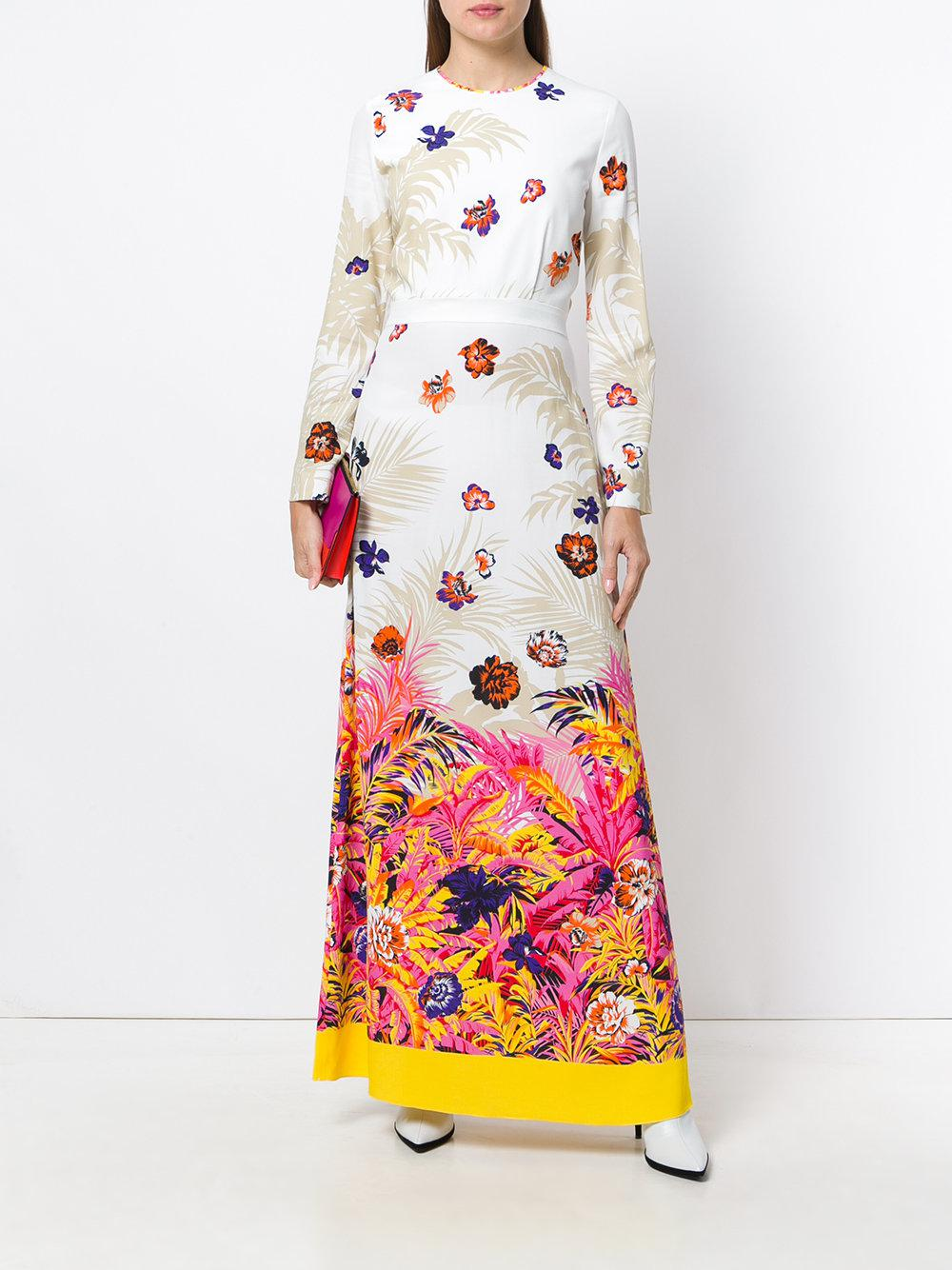 sequin long dress with floral insert Msgm 0GzNyEQv