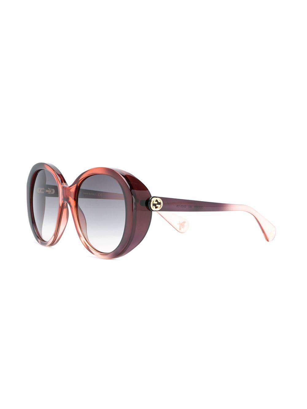 72c63a32237 Gucci - Brown Round Frame Sunglasses - Lyst. View fullscreen