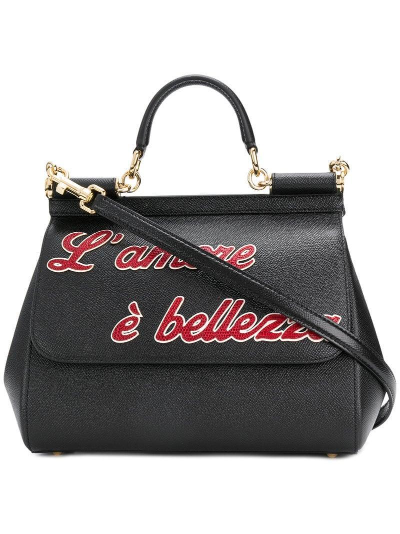 Lyst - Dolce   Gabbana Sicily Tote Bag in Black 0620025f27b73
